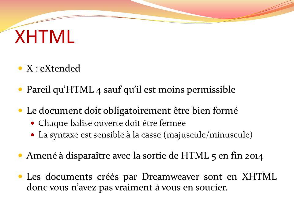 XHTML X : eXtended Pareil quHTML 4 sauf quil est moins permissible Le document doit obligatoirement être bien formé Chaque balise ouverte doit être fermée La syntaxe est sensible à la casse (majuscule/minuscule) Amené à disparaître avec la sortie de HTML 5 en fin 2014 Les documents créés par Dreamweaver sont en XHTML donc vous navez pas vraiment à vous en soucier.