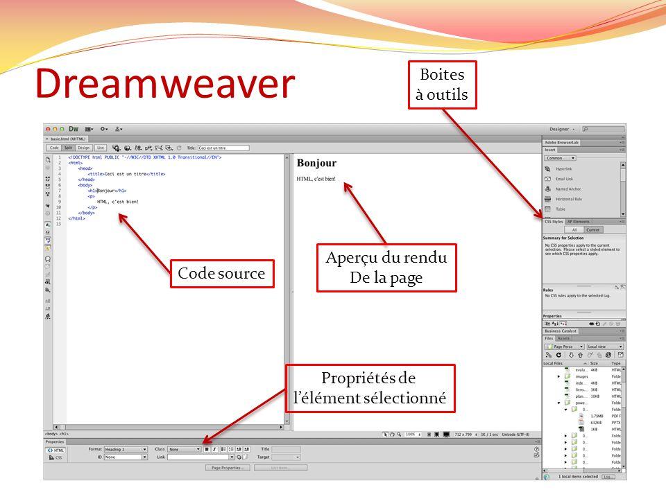 Dreamweaver Code source Aperçu du rendu De la page Propriétés de lélément sélectionné Boites à outils