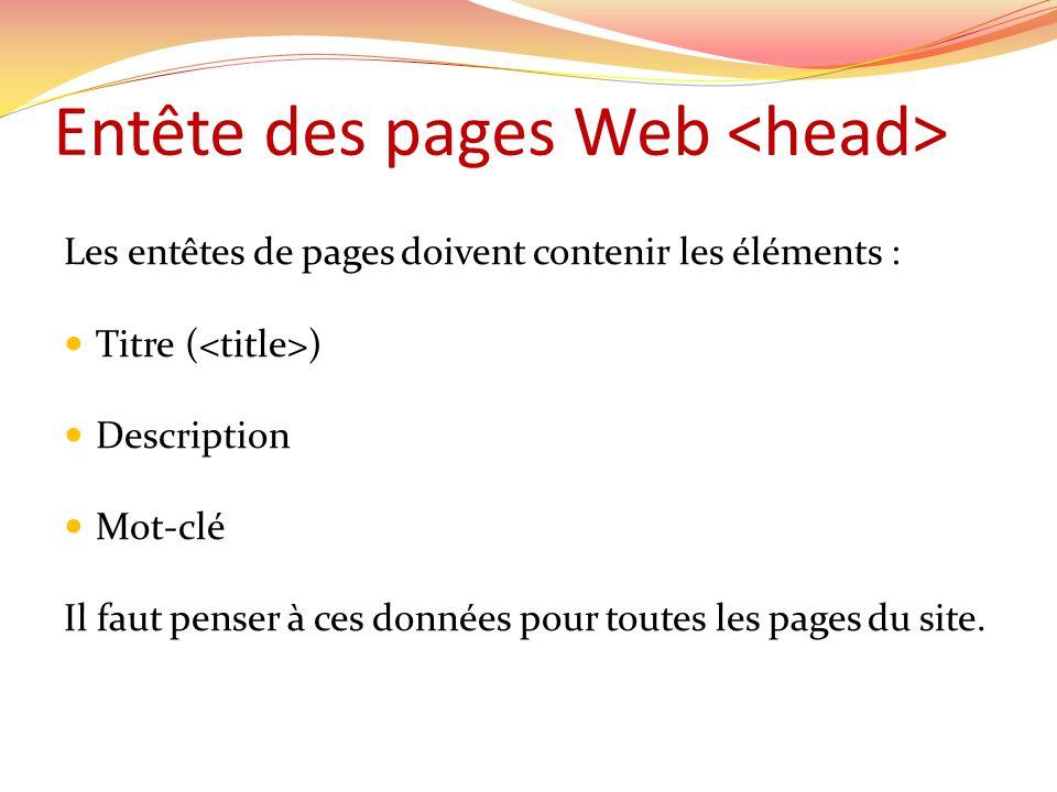 Entête des pages Web Les entêtes de pages doivent contenir les éléments : Titre ( ) Description Mot-clé Il faut penser à ces données pour toutes les pages du site.