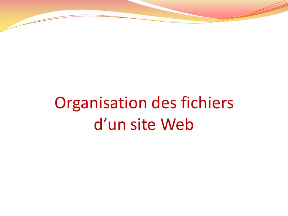 Organisation des fichiers dun site Web