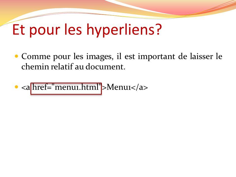Comme pour les images, il est important de laisser le chemin relatif au document. Menu1