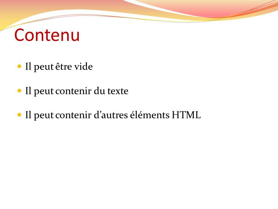 Contenu Il peut être vide Il peut contenir du texte Il peut contenir dautres éléments HTML