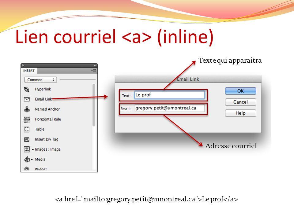Lien courriel (inline) Texte qui apparaitra Adresse courriel Le prof
