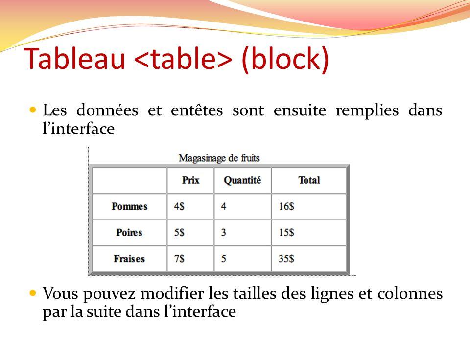 Tableau (block) Les données et entêtes sont ensuite remplies dans linterface Vous pouvez modifier les tailles des lignes et colonnes par la suite dans linterface