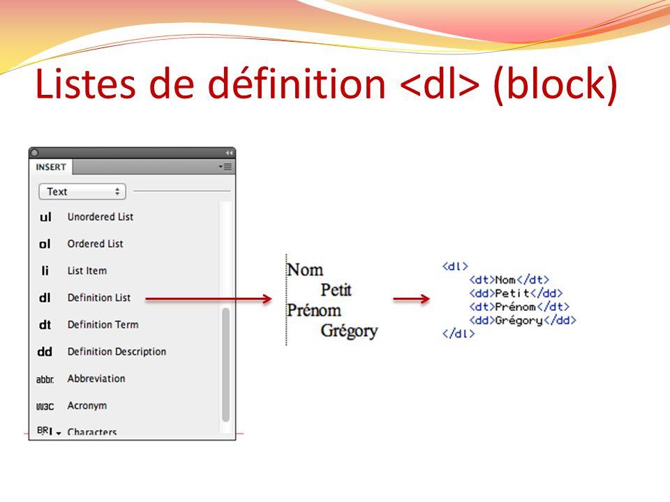 Listes de définition (block)