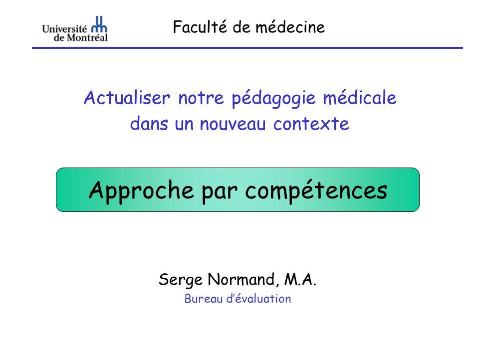 Faculté de médecine Actualiser notre pédagogie médicale dans un nouveau contexte Serge Normand, M.A. Bureau dévaluation Approche par compétences