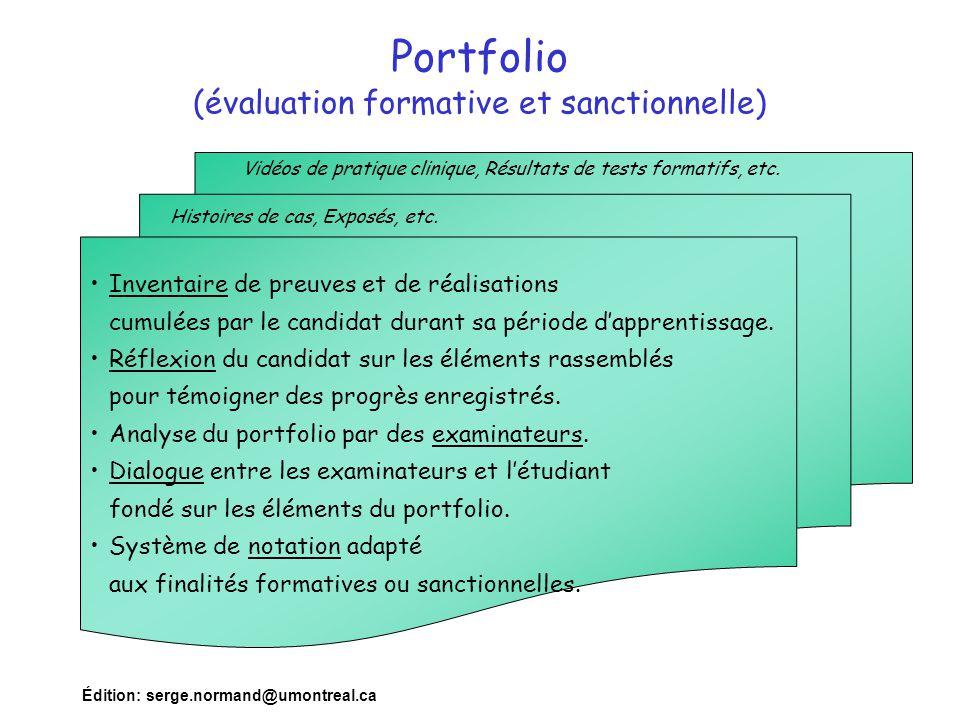 Édition: serge.normand@umontreal.ca Portfolio (évaluation formative et sanctionnelle) Inventaire de preuves et de réalisations cumulées par le candida