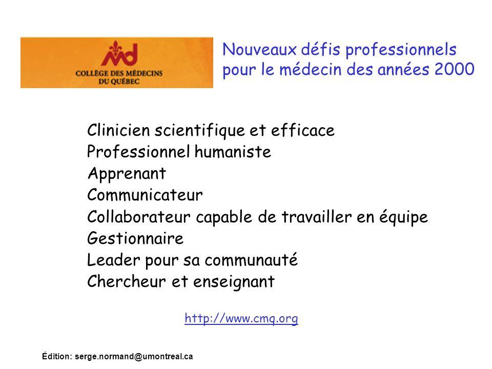 Édition: serge.normand@umontreal.ca Nouveaux défis professionnels pour le médecin des années 2000 http://www.cmq.org Clinicien scientifique et efficac