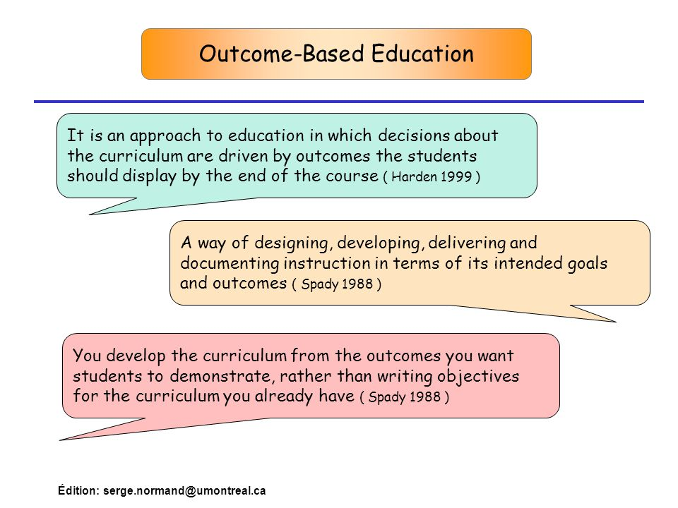 Édition: serge.normand@umontreal.ca Outcome-Based Education It is an approach to education in which decisions about the curriculum are driven by outcomes the students should display by the end of the course ( Harden 1999 ) A way of designing, developing, delivering and documenting instruction in terms of its intended goals and outcomes ( Spady 1988 ) You develop the curriculum from the outcomes you want students to demonstrate, rather than writing objectives for the curriculum you already have ( Spady 1988 )