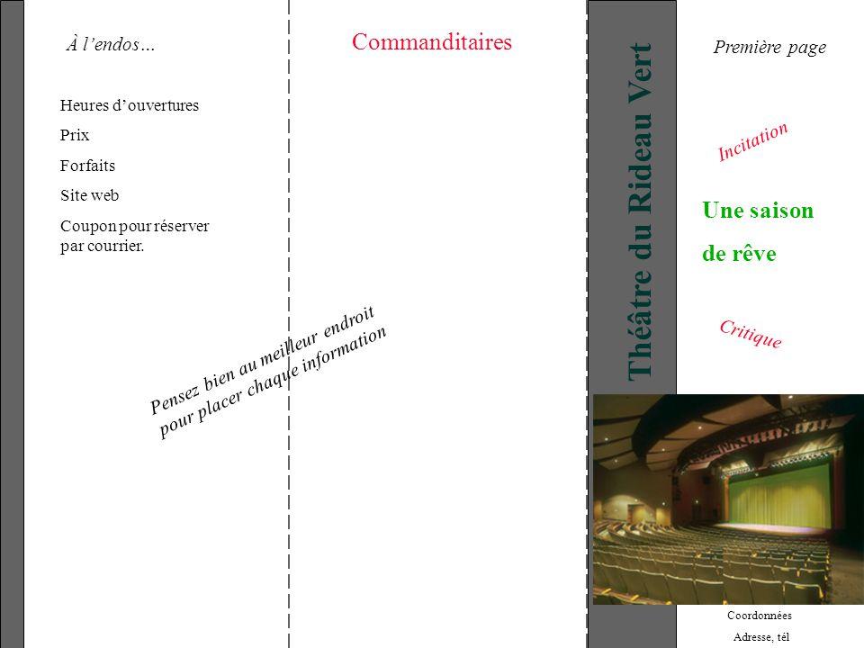 Théâtre du Rideau Vert Heures douvertures Prix Forfaits Site web Coupon pour réserver par courrier. Commanditaires Coordonnées Adresse, tél Une saison