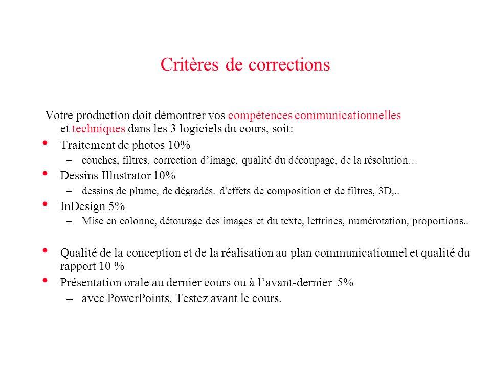 Critères de corrections Votre production doit démontrer vos compétences communicationnelles et techniques dans les 3 logiciels du cours, soit: Traitem