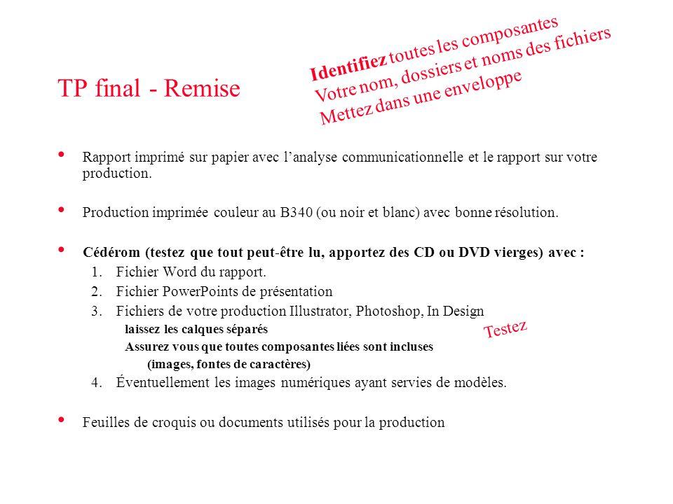 TP final - Remise Rapport imprimé sur papier avec lanalyse communicationnelle et le rapport sur votre production. Production imprimée couleur au B340