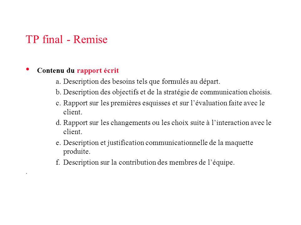 TP final - Remise Contenu du rapport écrit a.Description des besoins tels que formulés au départ. b.Description des objectifs et de la stratégie de co