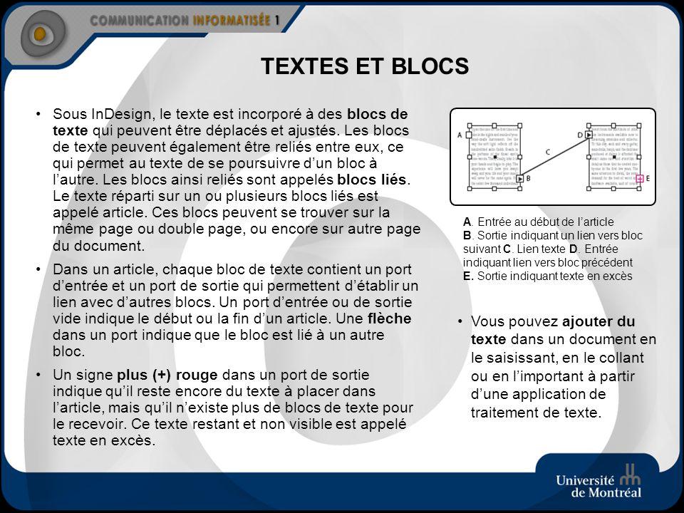 TEXTES ET BLOCS Sous InDesign, le texte est incorporé à des blocs de texte qui peuvent être déplacés et ajustés. Les blocs de texte peuvent également