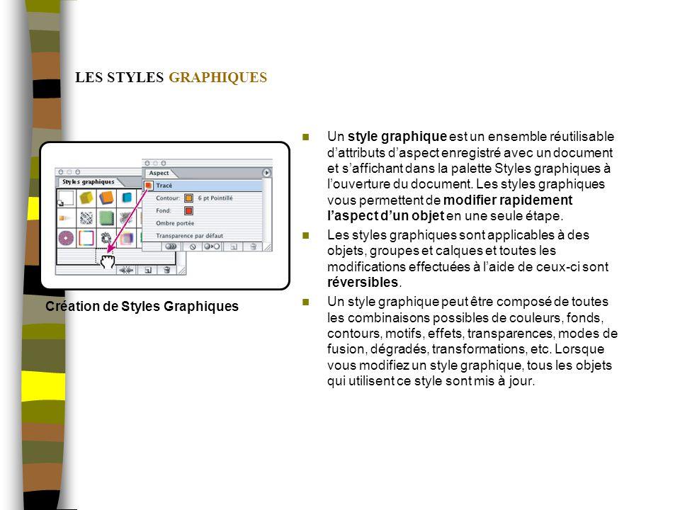 LES STYLES GRAPHIQUES Un style graphique est un ensemble réutilisable dattributs daspect enregistré avec un document et saffichant dans la palette Styles graphiques à louverture du document.