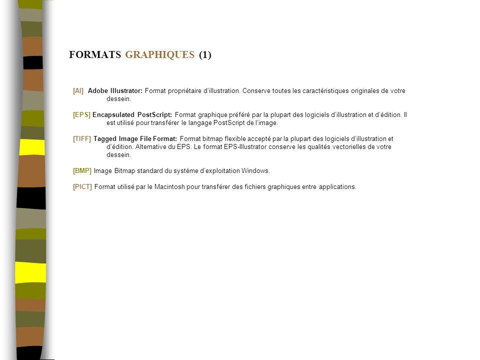 FORMATS GRAPHIQUES (1) [AI] Adobe Illustrator: Format propriétaire dillustration.