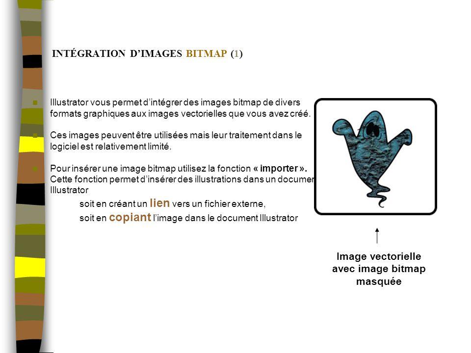 INTÉGRATION DIMAGES BITMAP (1) Illustrator vous permet dintégrer des images bitmap de divers formats graphiques aux images vectorielles que vous avez créé.