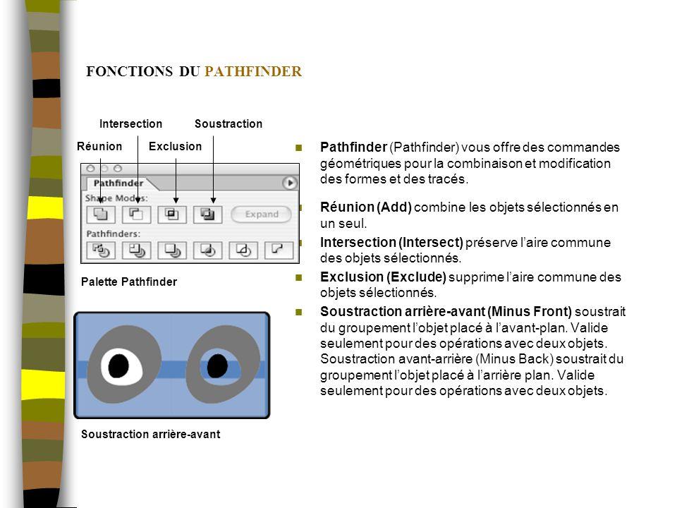 FONCTIONS DU PATHFINDER Pathfinder (Pathfinder) vous offre des commandes géométriques pour la combinaison et modification des formes et des tracés.