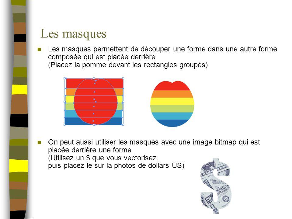 Les masques Les masques permettent de découper une forme dans une autre forme composée qui est placée derrière (Placez la pomme devant les rectangles groupés) On peut aussi utiliser les masques avec une image bitmap qui est placée derrière une forme (Utilisez un $ que vous vectorisez puis placez le sur la photos de dollars US)