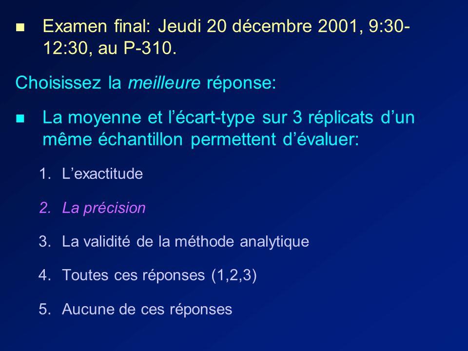 Examen final: Jeudi 20 décembre 2001, 9:30- 12:30, au P-310.