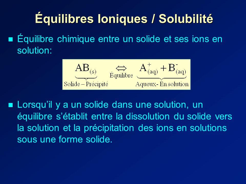 Équilibres Ioniques / Solubilité Équilibre chimique entre un solide et ses ions en solution: Lorsquil y a un solide dans une solution, un équilibre sétablit entre la dissolution du solide vers la solution et la précipitation des ions en solutions sous une forme solide.