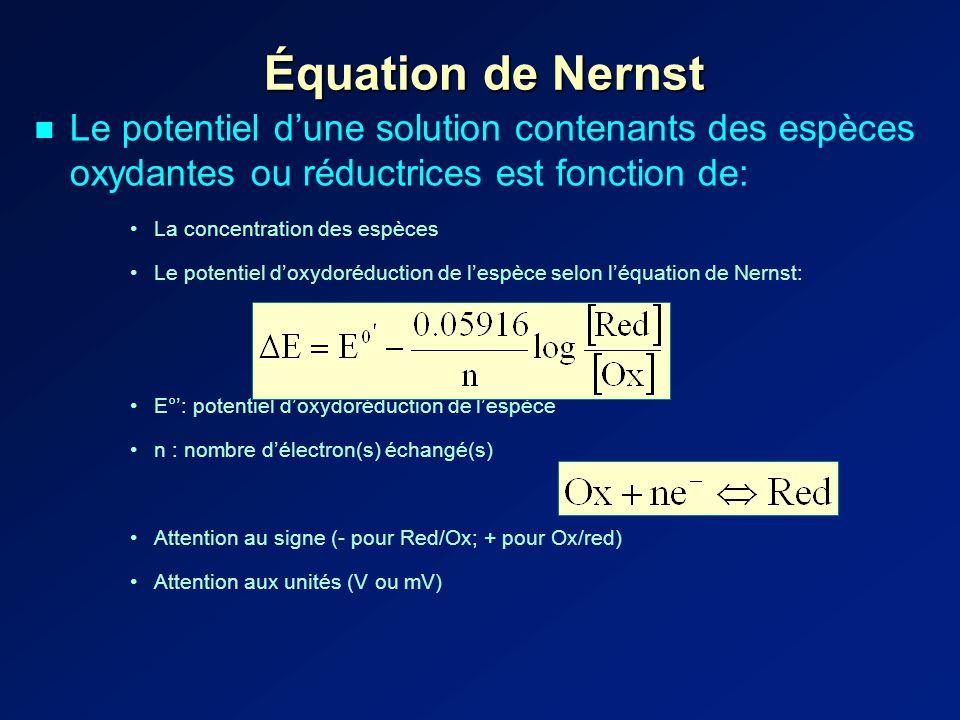 Équation de Nernst Le potentiel dune solution contenants des espèces oxydantes ou réductrices est fonction de: La concentration des espèces Le potentiel doxydoréduction de lespèce selon léquation de Nernst: E°: potentiel doxydoréduction de lespèce n : nombre délectron(s) échangé(s) Attention au signe (- pour Red/Ox; + pour Ox/red) Attention aux unités (V ou mV)