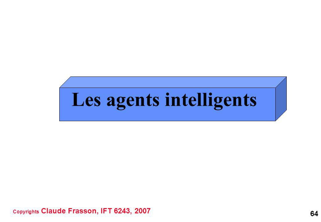 64 Les agents intelligents Copyrights Claude Frasson, IFT 6243, 2007