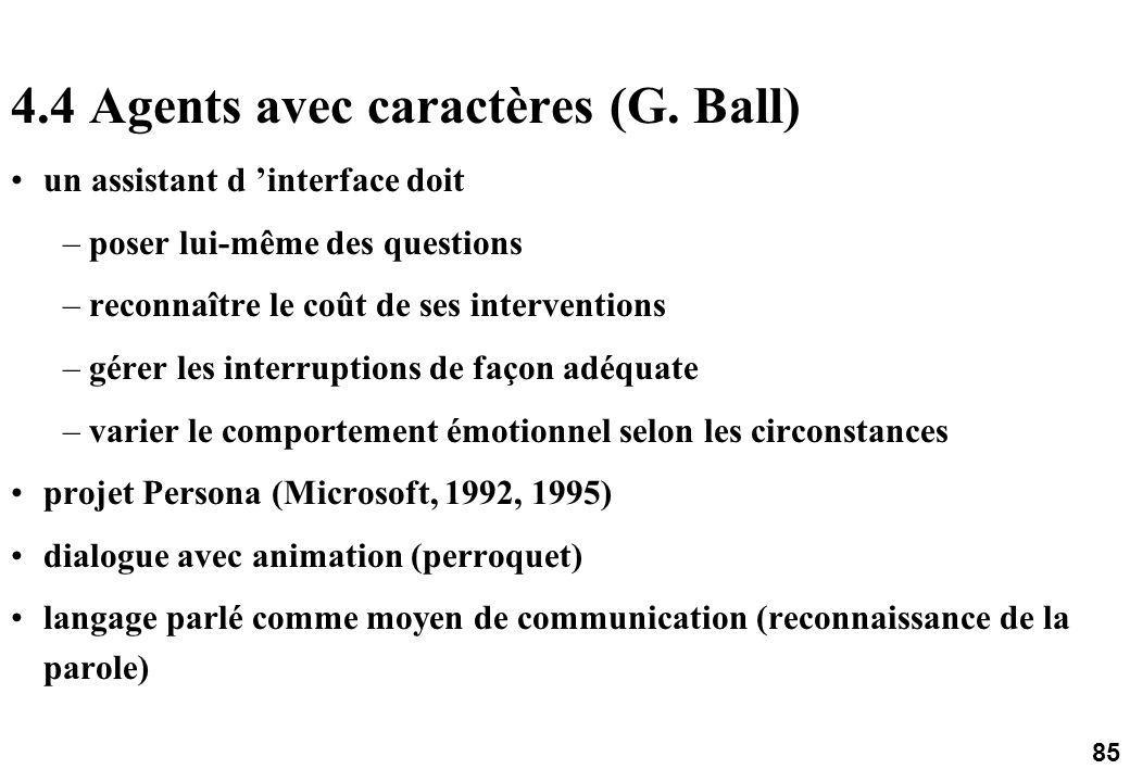 85 4.4 Agents avec caractères (G.