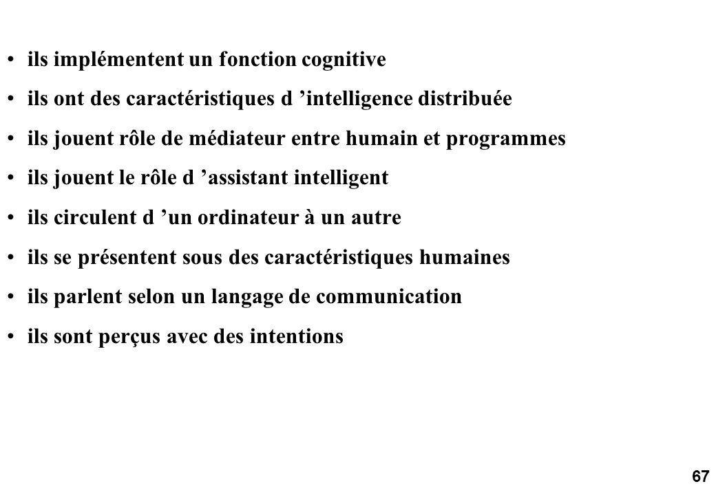 67 ils implémentent un fonction cognitive ils ont des caractéristiques d intelligence distribuée ils jouent rôle de médiateur entre humain et programmes ils jouent le rôle d assistant intelligent ils circulent d un ordinateur à un autre ils se présentent sous des caractéristiques humaines ils parlent selon un langage de communication ils sont perçus avec des intentions