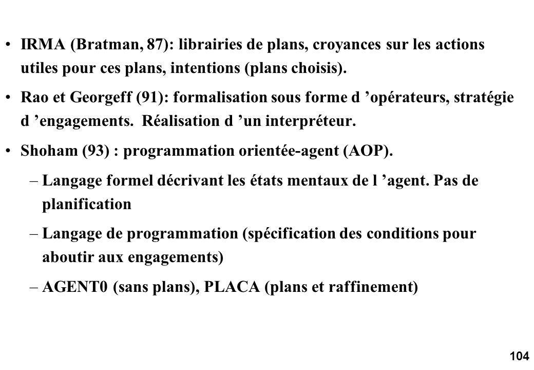 104 IRMA (Bratman, 87): librairies de plans, croyances sur les actions utiles pour ces plans, intentions (plans choisis).