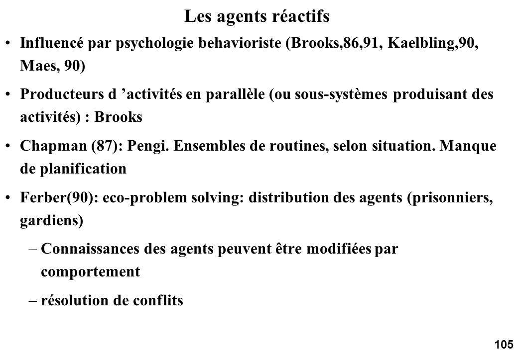 105 Les agents réactifs Influencé par psychologie behavioriste (Brooks,86,91, Kaelbling,90, Maes, 90) Producteurs d activités en parallèle (ou sous-systèmes produisant des activités) : Brooks Chapman (87): Pengi.