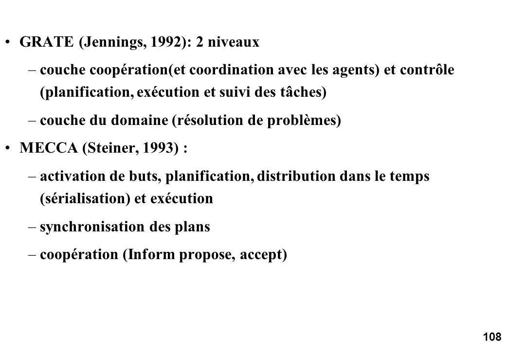 108 GRATE (Jennings, 1992): 2 niveaux –couche coopération(et coordination avec les agents) et contrôle (planification, exécution et suivi des tâches) –couche du domaine (résolution de problèmes) MECCA (Steiner, 1993) : –activation de buts, planification, distribution dans le temps (sérialisation) et exécution –synchronisation des plans –coopération (Inform propose, accept)