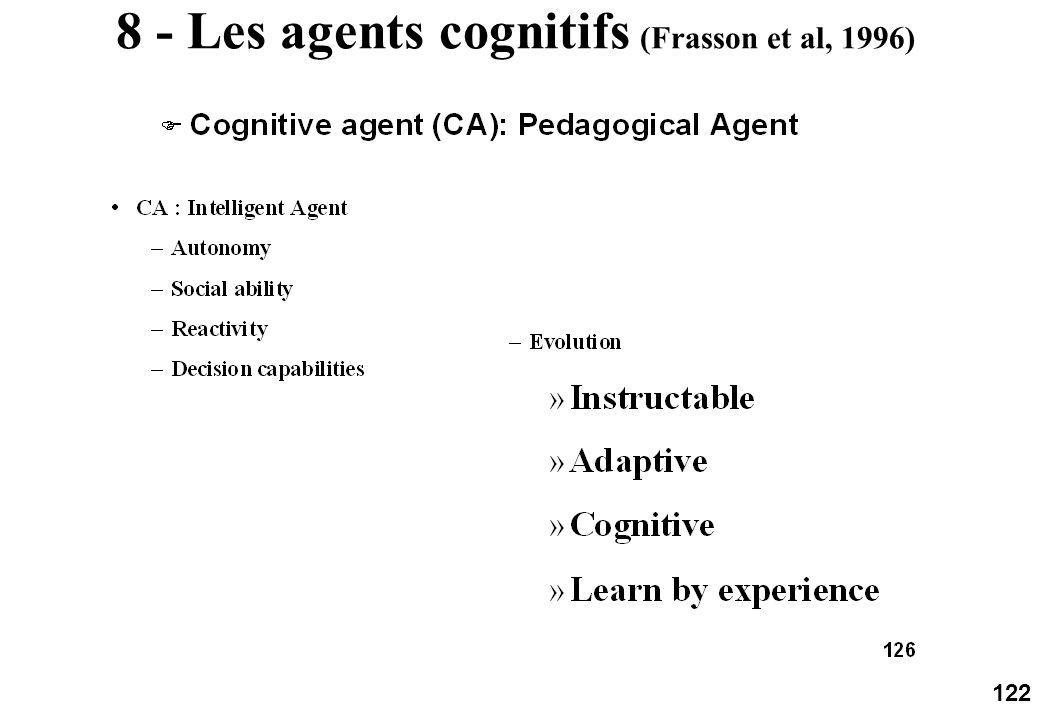 122 8 - Les agents cognitifs (Frasson et al, 1996)