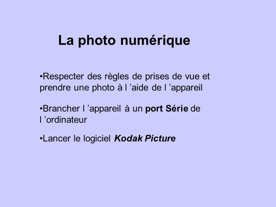 La photo numérique Respecter des règles de prises de vue et prendre une photo à l aide de l appareil Brancher l appareil à un port Série de l ordinateur Lancer le logiciel Kodak Picture