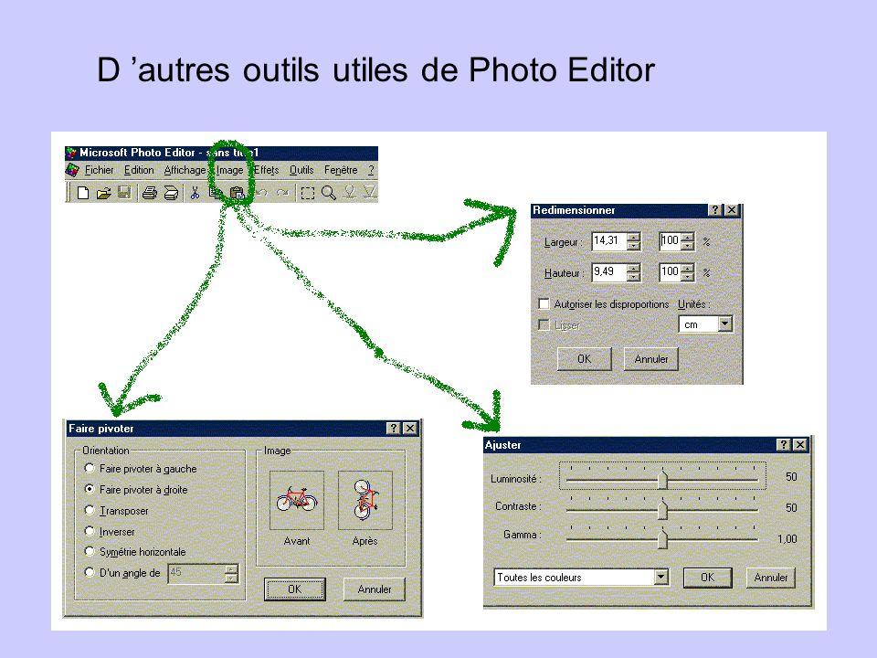 D autres outils utiles de Photo Editor