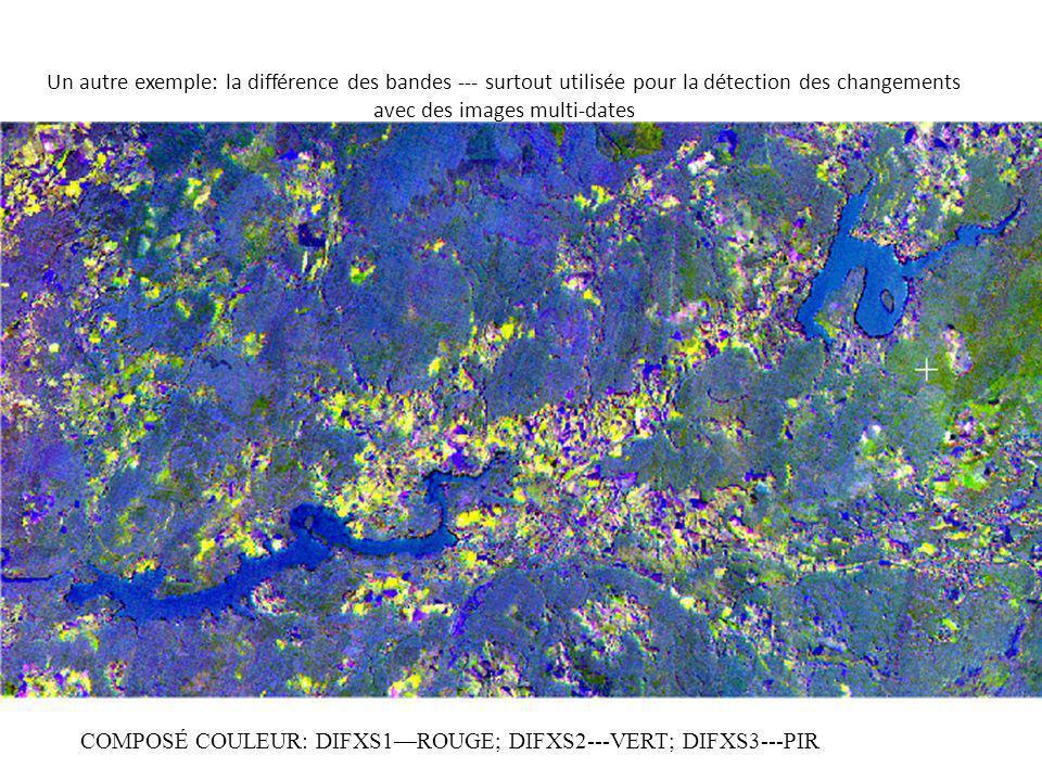 Un autre exemple: la différence des bandes --- surtout utilisée pour la détection des changements avec des images multi-dates COMPOSÉ COULEUR: DIFXS1ROUGE; DIFXS2---VERT; DIFXS3---PIR
