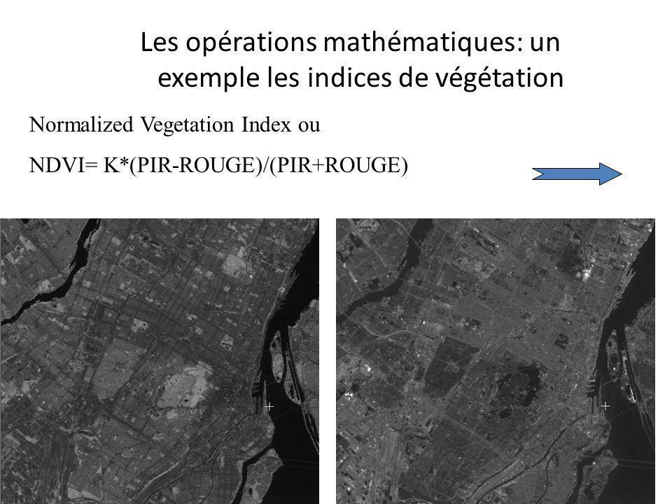 Les opérations mathématiques: un exemple les indices de végétation Normalized Vegetation Index ou NDVI= K*(PIR-ROUGE)/(PIR+ROUGE)