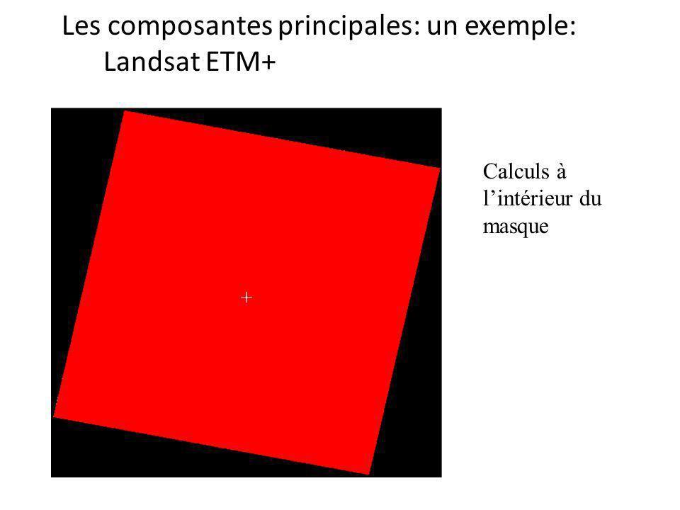 Les composantes principales: un exemple: Landsat ETM+ Calculs à lintérieur du masque