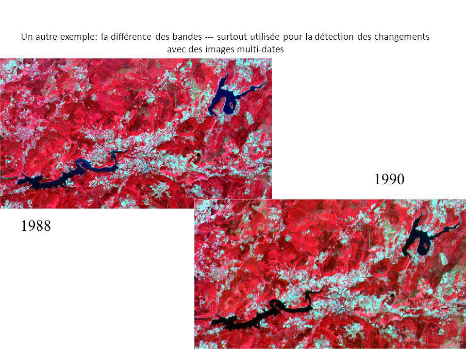 Un autre exemple: la différence des bandes --- surtout utilisée pour la détection des changements avec des images multi-dates 1988 1990