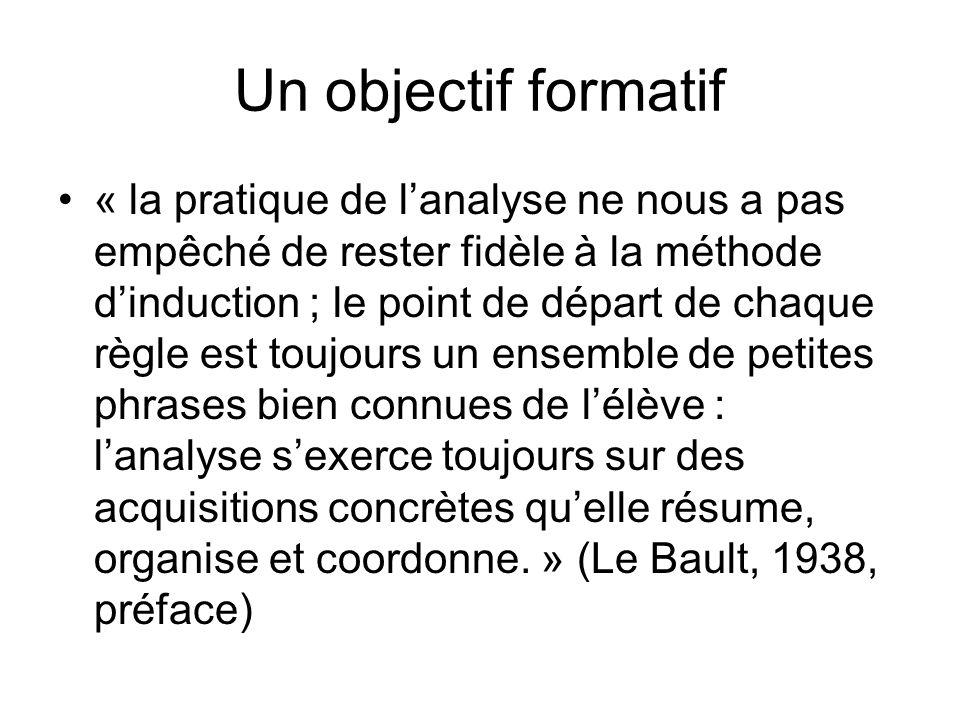 Un objectif formatif « la pratique de lanalyse ne nous a pas empêché de rester fidèle à la méthode dinduction ; le point de départ de chaque règle est