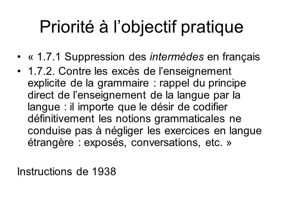 Priorité à lobjectif pratique « 1.7.1 Suppression des intermèdes en français 1.7.2. Contre les excès de lenseignement explicite de la grammaire : rapp