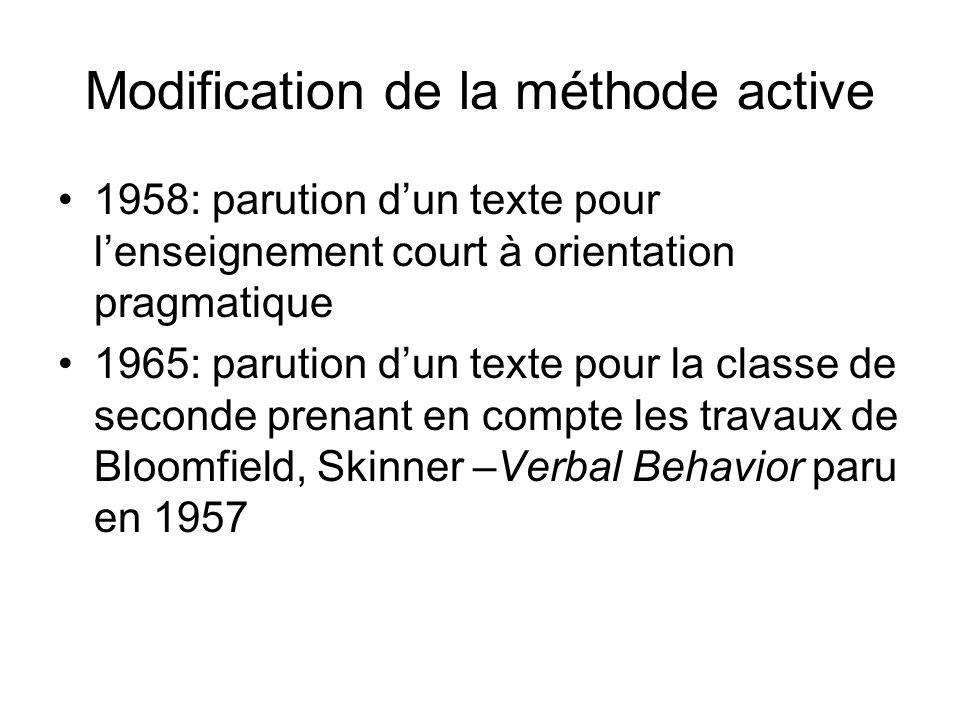 Modification de la méthode active 1958: parution dun texte pour lenseignement court à orientation pragmatique 1965: parution dun texte pour la classe