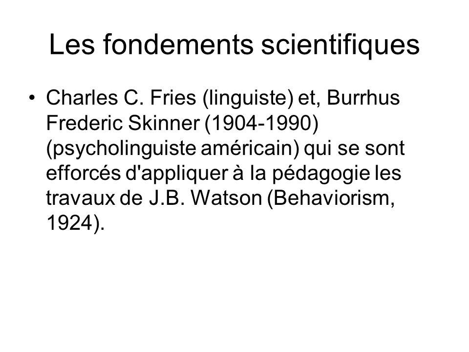 Les fondements scientifiques Charles C. Fries (linguiste) et, Burrhus Frederic Skinner (1904-1990) (psycholinguiste américain) qui se sont efforcés d'