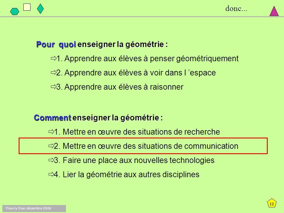 11 Thierry Dias décembre 2006 quatre mots-clés (types de tâches) : Reproduire : des figures, y compris la réalisation pratique de solides Décrire : de