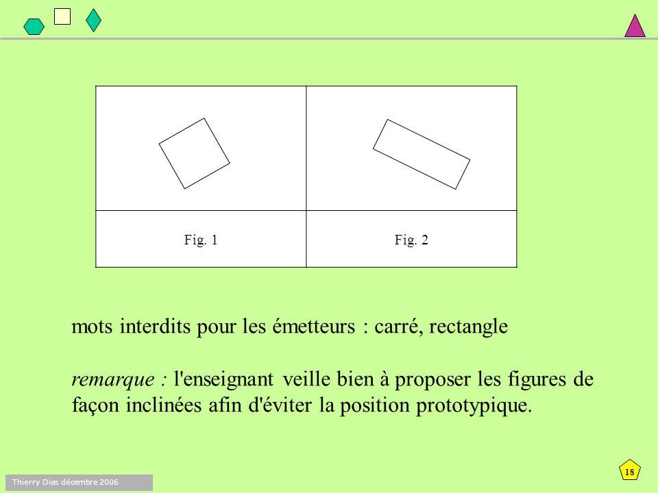 17 Thierry Dias décembre 2006 A/ Règle + équerre séance 1 objectif : permettre de découvrir que ce sont les propriétés qui fondent les caractéristique