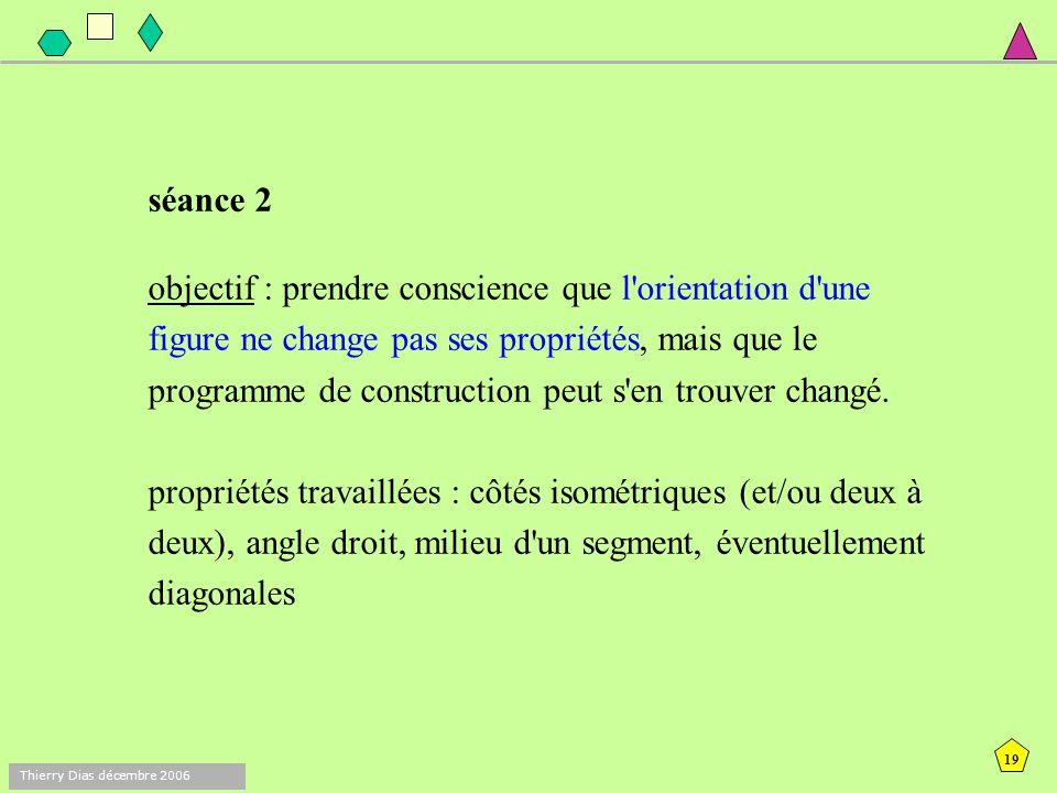 18 Thierry Dias décembre 2006 Fig. 1Fig. 2 mots interdits pour les émetteurs : carré, rectangle remarque : l'enseignant veille bien à proposer les fig