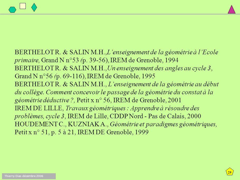 28 Thierry Dias décembre 2006 Concepts VERGNAUD G. (1990) La théorie des champs conceptuels. Recherches en Didactique des Mathématiques vol 10 2/3 pp.