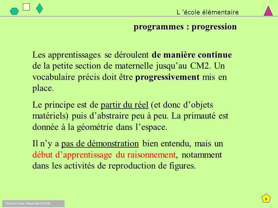 8 Thierry Dias décembre 2006 Les activités du domaine géométrique : ne visent pas des connaissances formelles (définitions), mais des connaissances fo