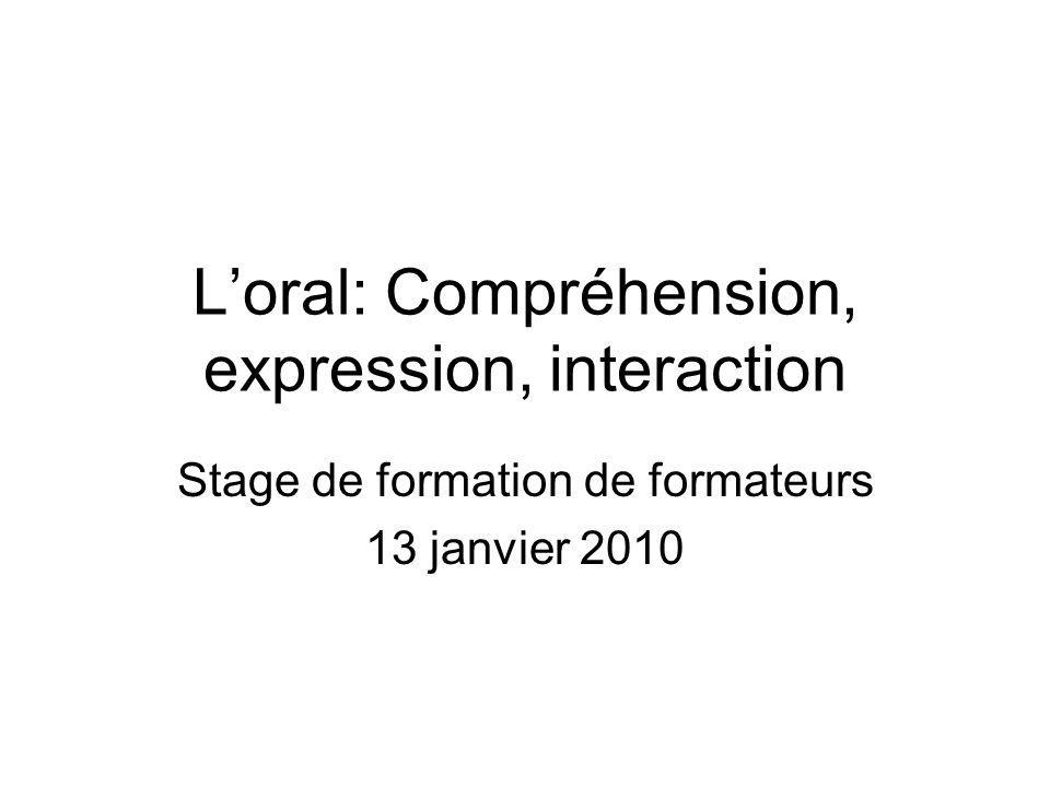 Programme de la journée du 13 janvier 9.00: La compréhension de loral: un savoir faire passif .