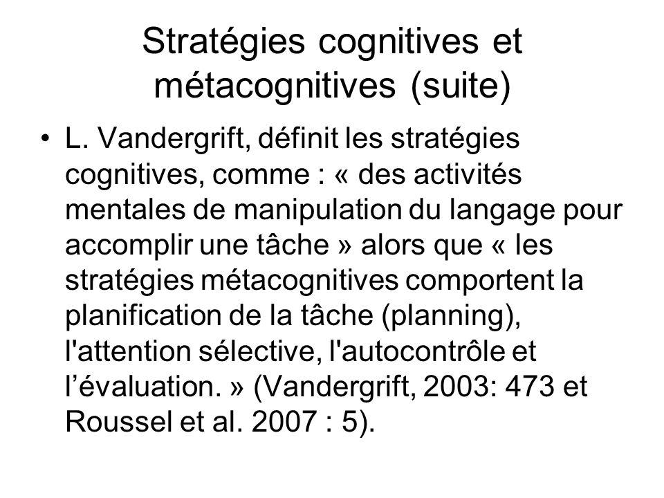 Stratégies cognitives et métacognitives (suite) L. Vandergrift, définit les stratégies cognitives, comme : « des activités mentales de manipulation du